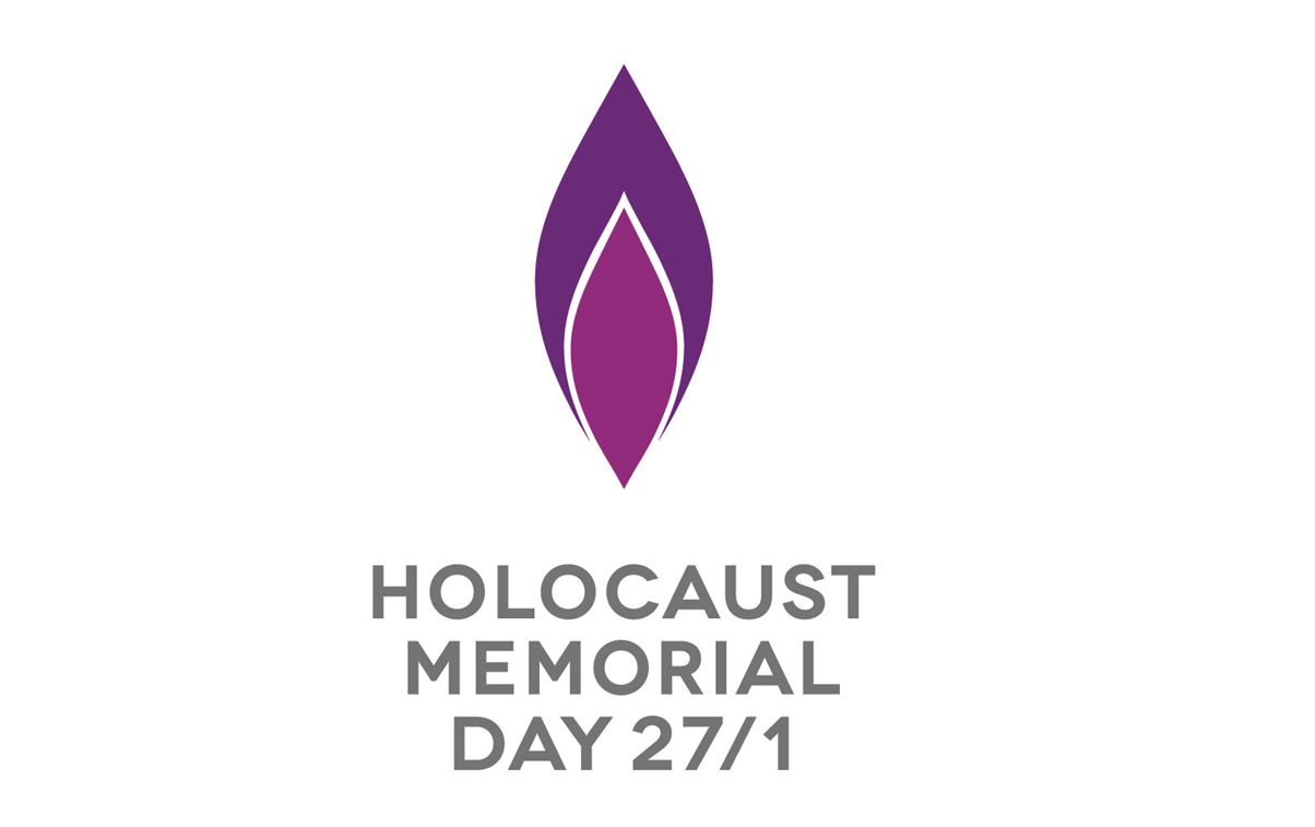 Holocaust Memorial Day logo - purple flame on white background